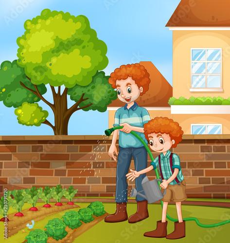 Ojciec i syn ogrodnictwo