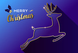 Merry Christmas gold deer greeting card - 230792368