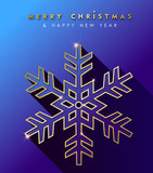 Christmas and New Year gold snowflake card - 230792531