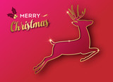 Christmas holiday greeting card of gold reindeer - 230793573