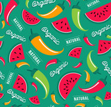 Organic fruit and vegetable icon seamless pattern - 230794126