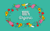 Organic food greeting card vegetables and fruit background - 230794302