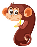 Cute monkey number seven character - 230794344