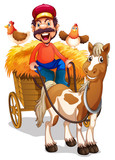 A farmer riding horse cart - 230794547
