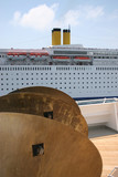 View from the deck of the cruise ship that meets another cruise in the Mediterranean - 230794711