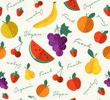 Fresh Organic fruit for vegan food seamless pattern - 230795386