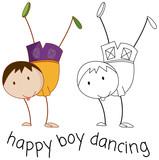 Doodle boy character dancing - 230795943