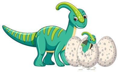 Adult dinosaur and baby dinosaur hatching egg