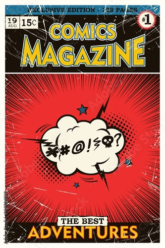Comic book cover. Explosion of cloud with cursing. - 230796939