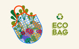 Eco grocery bag and vegetables for ecology concept - 230797309