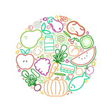 Healthy eating concept with outline food icon - 230797544
