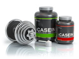 Casein protein with scoop and dumbbell.Bodybuilder nutrition(supplement) concept. - 230799554