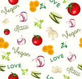 Vegan raw food vegetable icon seamless pattern - 230799994
