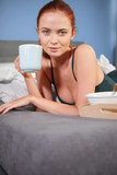 Breakfast in bed and young beautiful girl - 230805722
