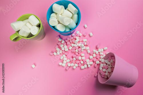 Marshmallows on pink background - 230811999