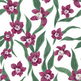 Watercolor painting seamless pattern with beautiful orchid flowers