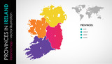 Vector map of Ireland regions beautiful colours
