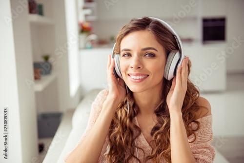 Leinwanddruck Bild Portrait of friendly glad cute nice pretty lady in sweater with