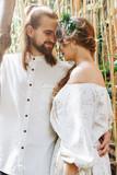 Beautiful couple in botanical garden