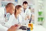 Doctors team talking expertise in hospital
