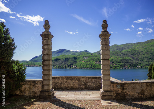 access portal to a stone staircase leading to Lugano Lake in Morcote. Switzerland