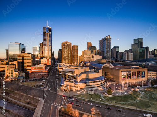 An aerial view of the skyline of the city of Denver at sunset - 230826960
