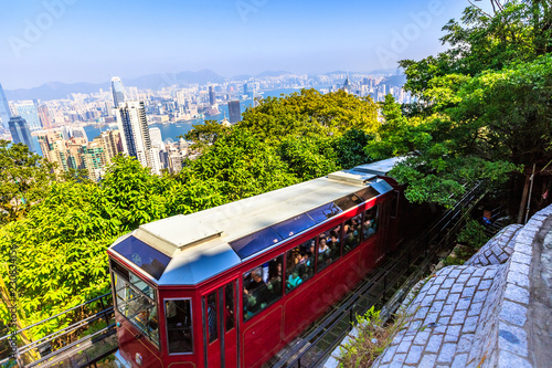 Leinwandbild Motiv The Peak Tram is a funicular railway in Hong Kong leading to the highest point of the island: the Victoria Peak.