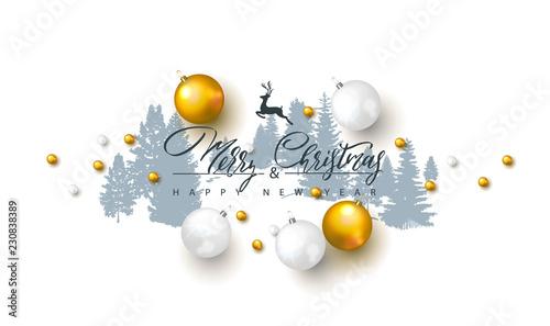 2019 Wesołych Świąt i szczęśliwego nowego roku tło z bombki i sylwetki drzew leśnych. Ilustracja wektorowa na wakacje kartkę z życzeniami, zaproszenie, ulotki partii, plakat, baner