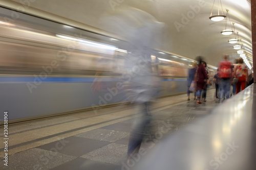 Train in motion in the subway as an abstract background - 230838904