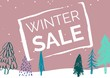 Winter Sale Illustrated Style with green firs and light pink