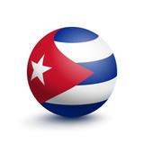 Flag of Cuba in the form of a ball isolated on white background. Vector illustration