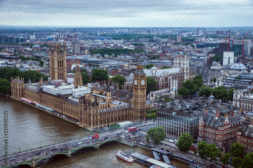 London - May 23, 2017: Palace of Westminster and London cityscape seen from London Eye. The Palace of Westminster is the meeting place of the two houses of the Parliament of the United Kingdom.