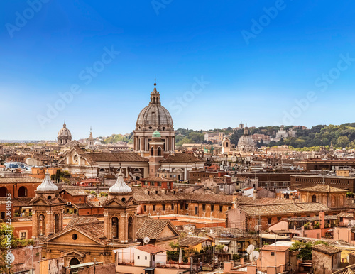fototapeta na ścianę The domes and rooftops of the eternal city, the view from the Spanish steps. Rome, Italy