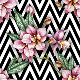 Seamless pattern with watercolor orchid flowers on abstract white black geometric background. - 230851320