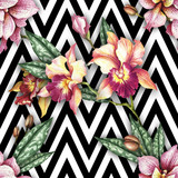 Seamless pattern with watercolor orchid flowers on abstract white black geometric background. - 230851350