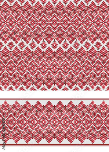 Seamless geometric ethnic pattern and border. Traditional Eastern Asian style. - 230853521