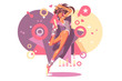 Beautiful girl in headphones dancing in night club
