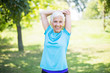 Maintaining the health of elderly woman in retirement concept
