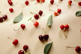 Summer cherry and leaves backdrop