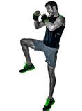 one caucasian fitness man exercising cardio boxing exercises in studio  isolated on white background - 230869191