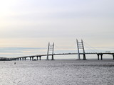 Seascape with cable-stayed bridge