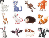 PrintGroup of cartoon animals. Vector illustration of funny happy animals. - 230874306
