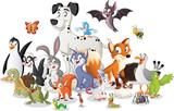 Group of cartoon animals. Vector illustration of funny happy animals. - 230875167