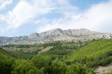 Beautiful huge mountain hills in Dalmatia, Croatia.