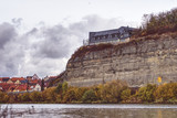 Limestone cliff along the river Main in lower franconia, bavaria, in autumn - 230876799