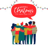 Christmas and New Year happy friend group hug card - 230880551