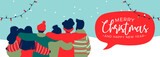 Christmas and New Year diverse people group banner - 230880561