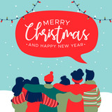 Christmas and New Year diverse people group card - 230880566