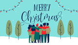 Christmas diverse friend group hug greeting card - 230880580