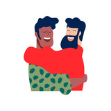 Two happy boy friends hug in christmas clothes - 230880598